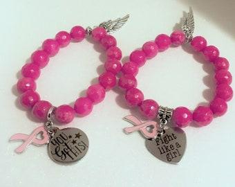 You got this  Breast Cancer Awareness Jewelry   Pink ribbon bracelet   Like a girl  Charm Bracelet   Inspirational Bracelet