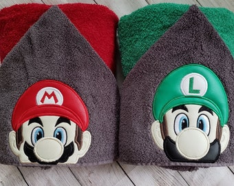 Beach or Swimming Pool Red Plumber Brother Mario Hooded Towel Kid/'s Hooded Towel Character Inspired Mario Towel for Bath