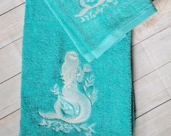 Mermaid Towel Set,Mermaid Bath/Hand Towel Set,Bath Towel,Mermaid Hand Towel,Embroidered Bath Towel Set, Ready To Ship