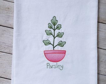 Parsley Embroidered Kitchen Towel,Flour Sack Kitchen Towel, Potted Plant Embroidered Towel,Herb Kitchen Towel,Ready To Ship