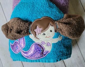 Mermaid Hooded Towel,Mermaid Towel,Kids Hooded Towel,Personalized Hooded Bath Towel,Hooded Bath Towel,Kids Birthday Gift,Girls Hooded Towel