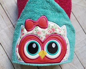 Owl Hooded towel personalize towel personalized hooded towel kids hooded towel Owl Birthday Woodland baby shower owl decor owl baby gift