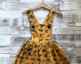 Dinosaur Dress - Girls Pinafore Dress - Girls Dungaree Dress - Yellow Corduroy Dress - Handmade Corduroy Pinafore - Baby Pinafore