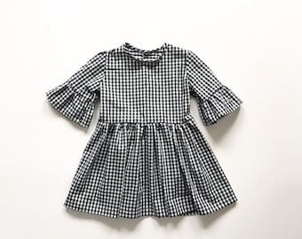 23512f853 Gingham Girls Dress - Vintage Style Girls Clothing - Long Sleeve Baby Dress  - Toddler Dress - Girls Party Outfit - Baby Girls Dress
