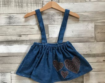 Baby Denim Skirt | Blue Denim Skirt | Skirt with braces | Heart Pattern Skirt | Baby Girls Skirt