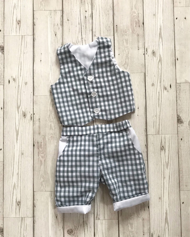 bafd84ae3 Boys Gingham Suit Boys Wedding Suit Baby Gingham Trousers | Etsy