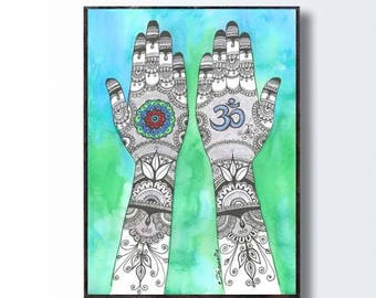 Instant Download Mehndi Hands Art Om Sign Henna Hand Drawing Etsy
