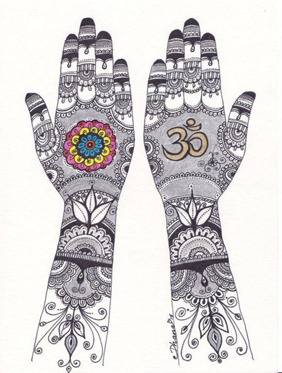Mehndi Hands Art Om Sign Henna Hand Drawing Colorful Ethnic Etsy