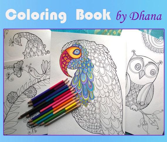 Página para colorear de descarga inmediata pavo real loro | Etsy
