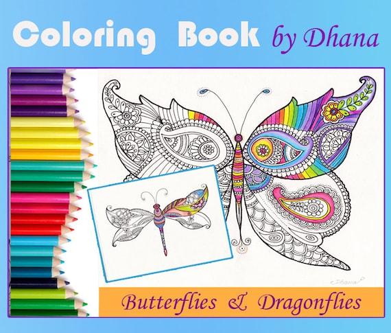 Para colorear dibujo de libélulas mariposas Descargar Instant | Etsy