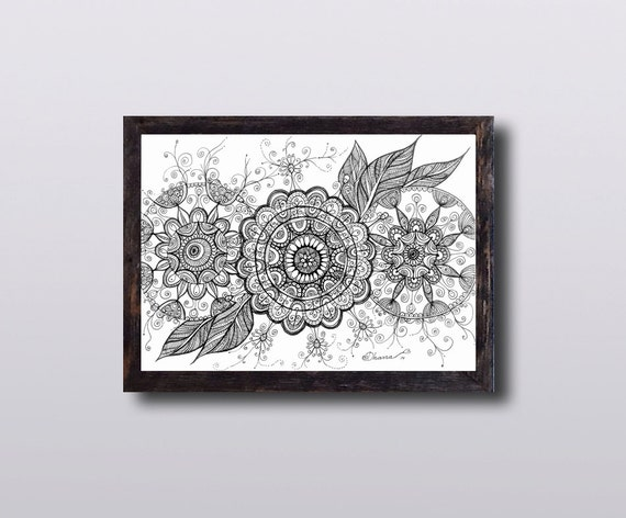 Abstract Ethnic Art Mandala Flowers Drawing Zentangle Paisley Art PRINT  Picture art work Black \u0026 White Illustration Yoga studio decor gift
