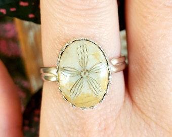 Sand dollar ring sterling silver