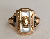 Vintage 10k Gold Akron Ohio TerryBerry Designed 1955 Ladies Class Ring Featuring Mother Of Pearl Inlaid Face