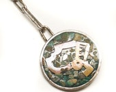 Vintage Sterling Silver Aztec Mayan Collectable Keychain Featuring Rosette Pendant Design With Inlaid Finish