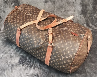 2c651f97a178 Vintage Authentic Louis Vuitton Monogramed Luxury Travel Duffle Bag  Featuring Original Hardware With Double Handle Design