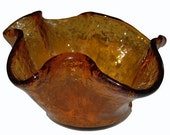 Heavy Vintage Burnt Orange Crackle Glass Styled Ruffle Centerpiece Bowl Featuring Molten Style Textured Finish