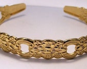 Vintage Garland Textured Oneida Gold Tone Cuff Bangle Bracelet Featuring Lovely Patterned Surface Monogramed Design