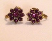 Vintage Gold Tome Amethyst Rhinestone French Post Earrings Featuring Petite Daisy Flower Style Design