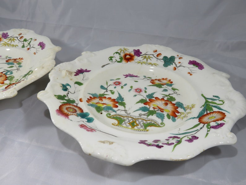 Antique Hand Painted Asian Floral Scalloped Fine China Hors D\u2019oeuvre Plate Featuring Eclectic Colors And Design