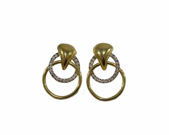 Vintage Gold Tone Double Hoop Rhinestone Earrings