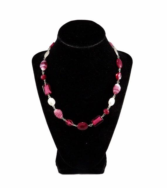 Vintage Raspberry Stone Ladies Designer Necklace F