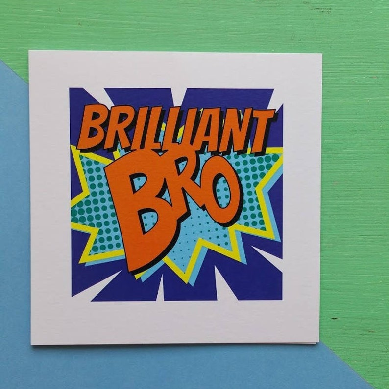 Superhero Birthday Card - Brilliant Bro Birthday Card - Comic Book Birthday  Card - Cards for Brother - Cards for Boys - Cards for Him