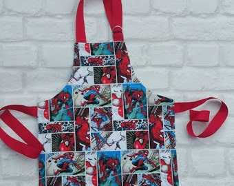 Spiderman Apron. Kids Apron. Machine washable Apron. Marvel Comics Spiderman. Marvel Apron.