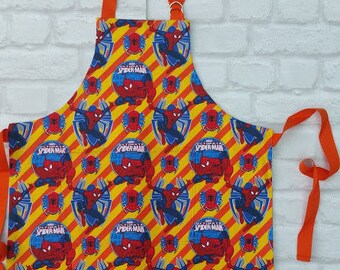 Spiderman Apron. Kids Apron. Machine washable Apron. Marvel Comics Spiderman. Marvel Apron. Orange Spiderman