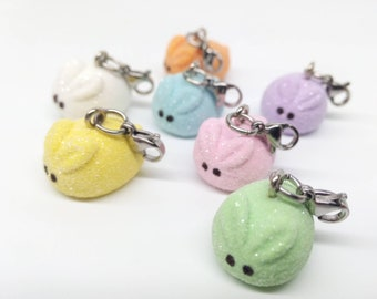 Bunny Peep Charms, Easter Jewelry, Miniature Bunny Peeps, Easter Peeps Jewelry, Marshmallow Bunny Peeps, Easter Peeps Necklace,