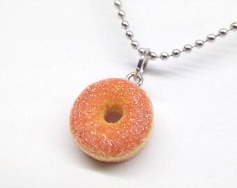 Sugar Donut Necklace, Doughnut Necklace, Miniature Food Jewelry, Powdered Donut, Donut Jewelry, Food Necklace,
