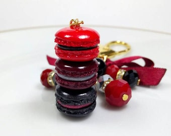 Black and Red Macaron Stack Planner Charm, Purse Charm, Kikkik planner charm, Gothic Inspired Jewelry, Vampire Inspired Jewelry, Macarons