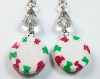 Red and Green Peppermint Christmas Candy Charm, Peppermint Earrings, Miniature Food Jewelry, Candy Jewelry, Holiday Jewelry, Christmas Gift