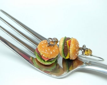 Hamburger Earrings, Hamburger Studs, Polymer Clay Food, Hamburger Jewelry, Food Earrings  Cheeseburger Earrings