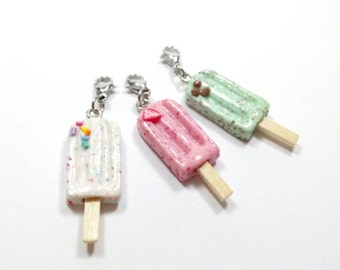 Popsicle Charm, Popsicle Necklace, Strawberry Popsicle, Mint Chocolate Chip Popsicle, Funfetti Popsicle, Ice Cream Charm, Miniature Food