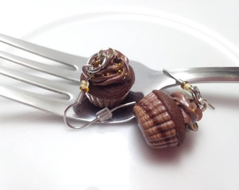 Chocolate Cupcake Earrings, Miniature Food Jewelry, Polymer Clay Food, Cupcake Jewelry, Chocolate Earrings