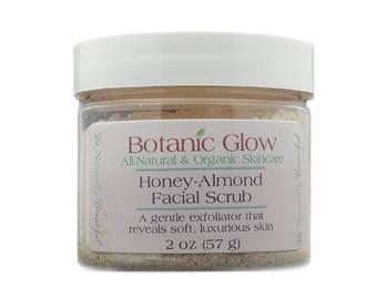 Honey Almond Facial Scrub 2 oz - Gentle Exfoliating Face Scrub - All Natural - Organic