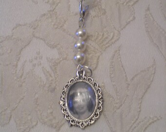 Vintage Look Bridal Bouquet Photo Frame/Locket Charm/White Swarovski