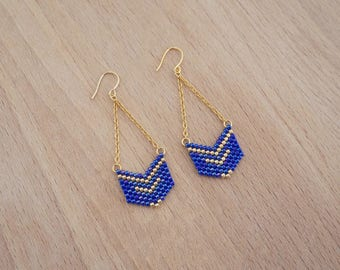 Weaving geometric Chevron Blue Gold fine gold earrings