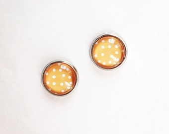Hypoallergenic Glass Cab Earrings 10mm (Surgical Stainless Steel) - Polka Dot