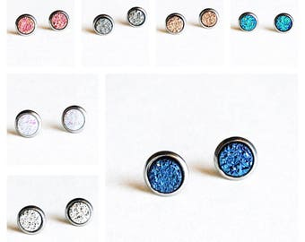 HYPOALLERGENIC EARRINGS Faux Druzy Earrings 6mm X-SMALL Stud Earrings Surgical Stainless Steel, Clothing Gift, women's gift, gift for her