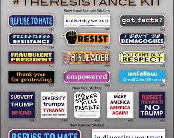 The Resistance Kit - Anti Trump Bumper Sticker Combo Pack