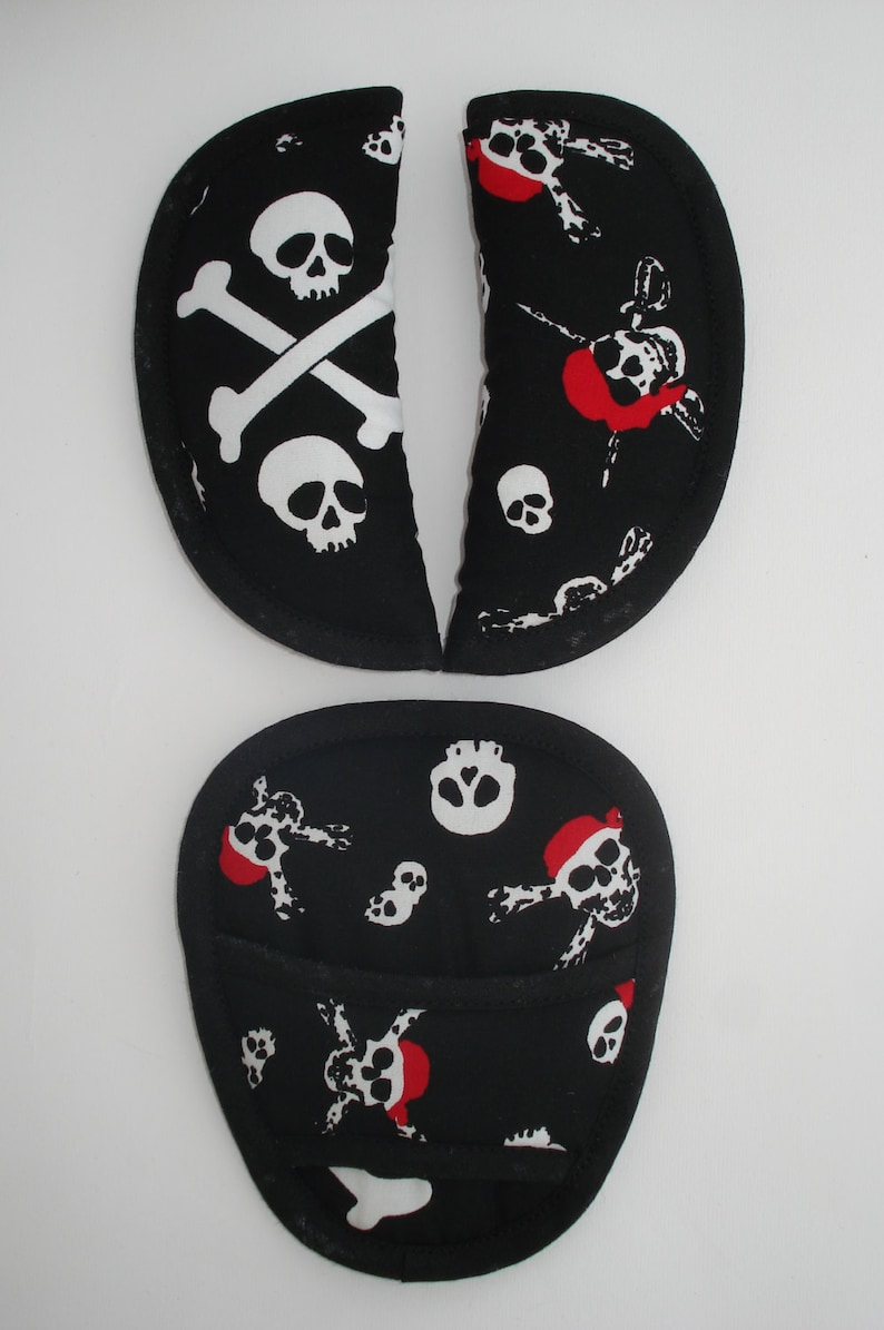 Baby Skull Pirate Car Seat Pram Highchair Harness Belt Cover Pads *NEW PADDED*