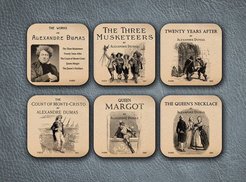 The Three Musketeers Twenty Years After,The Count of Monte Cristo,Queen Margot,The Queen/'s Necklace 6 coasters with Alexandre Dumas novels