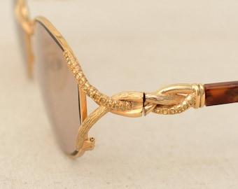 Rare Vintage French LORIS AZZARO PARIS Ottoman Sunglasses Photochromic Glass Lenses Gilt Frame Tortoise Legs Crystal Beads