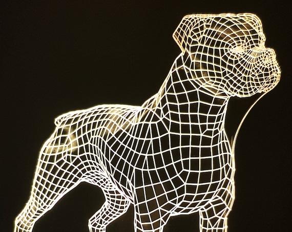 Lamp 3D design: boxer dog