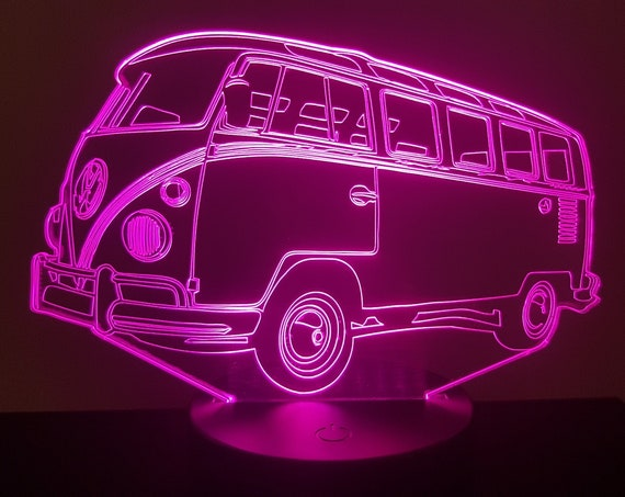 VOLKSWAGEN T1 VW Combi - Mood lamp 3D led, laser engraving on acrylic, power by USB cable or batteries