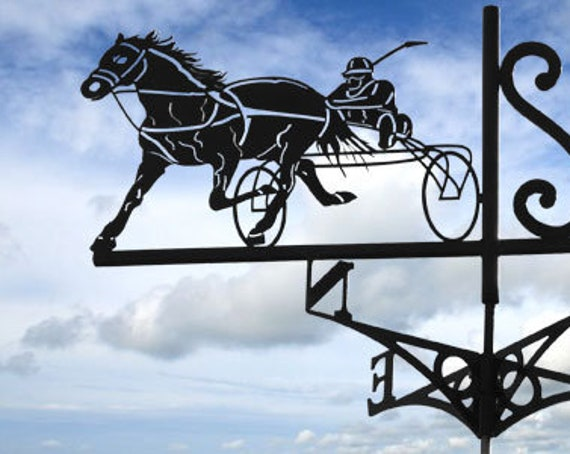 Weathervane with roof horse with sulky