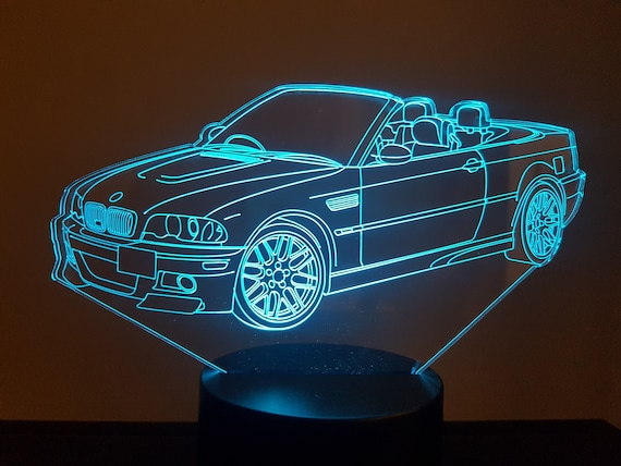 BMW M3 cabriolet - mood lamp 3D led, laser engraving on acrylic, power by USB cable or batteries