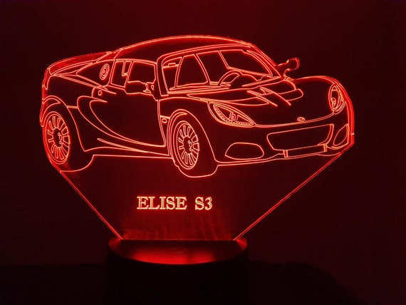 LOTUS ELISE S3 - Mood lamp 3D led, laser engraving on acrylic, power by USB cable or batteries