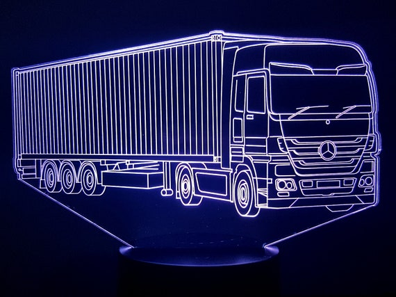 MERCEDES truck 1 - mood lamp 3D led, laser engraving on acrylic, power by USB cable or batteries